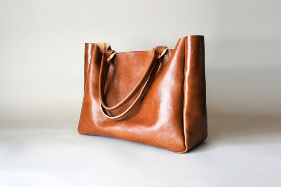 Brown Leather Bag Heirloom Tote Cognac Brown Vegetable