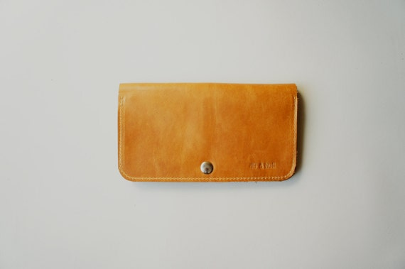 Leather Women's Wallet - Raw Purse - Tan
