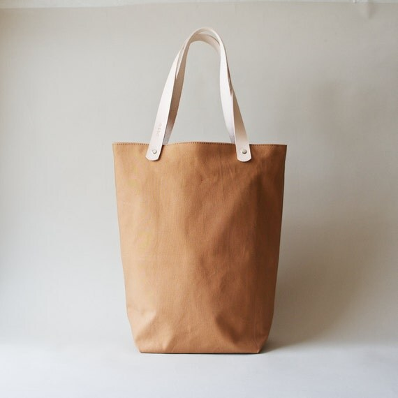 Organic Canvas Tote with Leather Straps - Cinnamon Tokyo Tote
