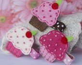 Felt Cupcake Clip- White, Pink, Brown- Your Choice of Colors
