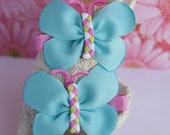 Coral Reef Cool Colors Butterfly Bows- Aqua, Pink, and Green