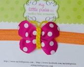 Summer Love Butterfly Headband- Fuchsia, Yellow, and Orange
