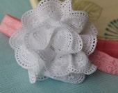 White Eyelet Lace Flower Headband with Pink Damask Headband
