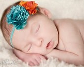 Turquoise and Orange Silk Flower Headband- Fire and Ice