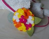 Bright Felt Flower Headband in Fuchsia, Yellow, and Orange- Felt Hydrangea on Skinny Headband