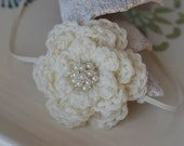 Ivory Cream Simple Crochet Flower Headband with Sparkles and Pearls