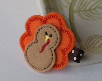 Felt Turkey Hair Clip- Thanksgiving Hair Bow