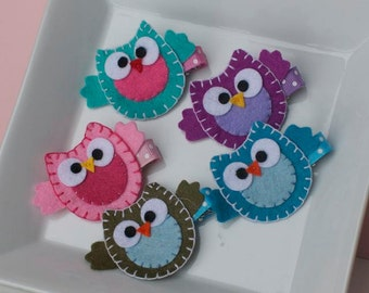 Owl Hair Clip- Choose from a Rainbow of Colors
