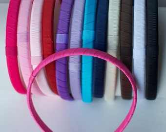 Interchangeable Hard Headband- Plastic Ribbon Covered Headband to Use With Hair Clips