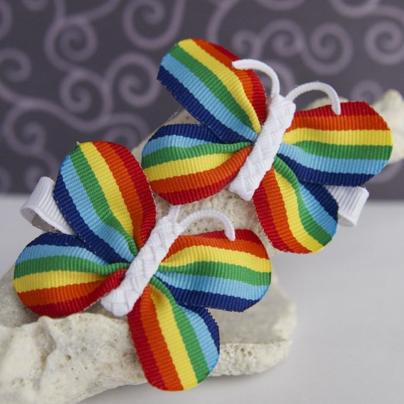Rainbow Butterfly Bows- Perfect for Pigtails