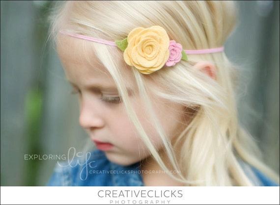 Sunshine Yellow and Pink Felt Flower Headband