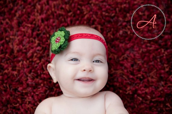 Holly Berries Ruffle Headband- Christmas Baby Flower Headband in Red and Green