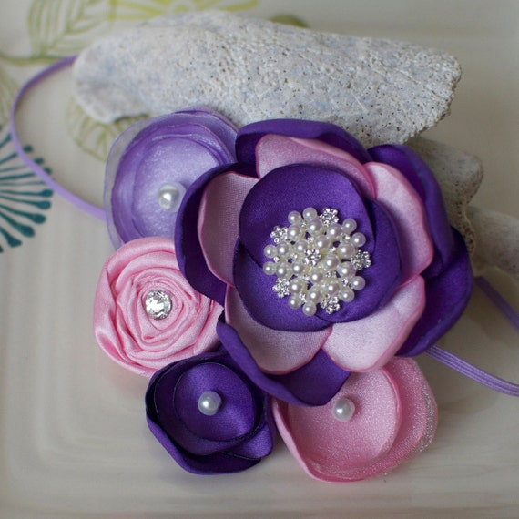 Purple and Pink Flower Cluster Headband- made to match Rapunzel Tangled