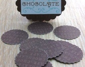 Dolls house miniatures accessories 12 chocolate design doilies with chocolate sign half scale 1/12