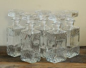 Vintage Soiree Square Decanter Set of 5 - With Glass Stoppers