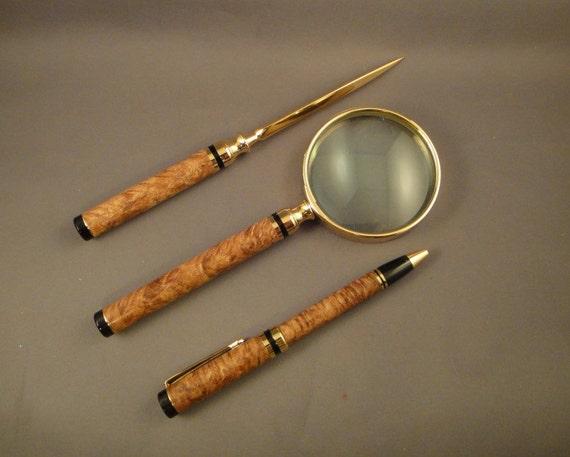 Classic Letter Opener - Magnifying Glass - Twist Pen Set -        Box Elder Burl Wood