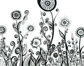 Abstract Ink Flowering Landscape 8x10 Print