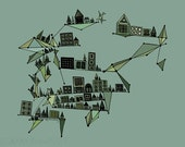 City with Geometric Diamonds 8x10 Green, Sage, Teal and Blue Print ON SALE, 50% OFF