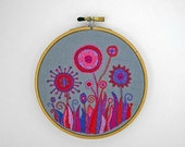 HALF OFF - 50% SALE - Embroidered Flower Garden in Red, Hot Pink and Purple 5 inch Hoop Art