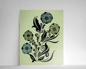 50% OFF - Filigree Flowers in Blues and Greens 8x10 Print