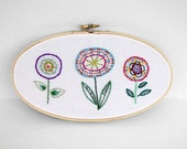 "Oval Embroidery Hoop with Three Colorful Abstract Hand-Stitched Flowers - 5x9"" Embroidery Hoop Fiber Art Wall Hanging"