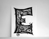 Clearance Sale - 75% OFF - Personalized Letter E with Black Swirls, Hand-Drawn Monogram, Initial Art - 8x10 Print by SometimesISwirl