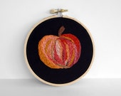 Abstract Orange Embroidered Pumpkin for Thanksgiving 4 inch Embroidery Hoop Fiber Art