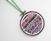 "Christmas Tree Ornament in Red, Green and White - Embroidery Hoop Decoration with Layers of Stitches- Winter & Holiday Decor 3"" Hoop"