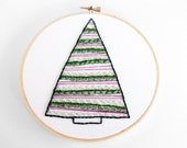 """20% OFF SALE: Contemporary Green and Hot Pink Christmas Tree with Garland - 6"""" Embroidery Hoop Wall Art - Price Already Reduced"""