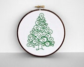 "20% OFF SALE: Embroidery Hoop Swirl Green Christmas Tree with Gold Ornaments - Holiday Decoration 5"" Hoop Wall Art Price Already REDUCED"