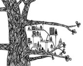 "Black White Art Print: ""Treehouse City"" - Ink Pen Drawing of a Swirly Tree With a Small City 8x10 Whimsical Print"