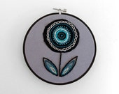 Teal, Black and Grey Embroidered Fabric Scraps Flower  - 6 inch Embroidery Hoop Fiber Wall Art