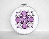 30% OFF: Rhapsody Embroidery Hoop Art, Mandala in Lavender, Lilac, Plum Purple and Silver - 5 Inch Hoop Art