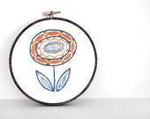 Blue, Orange and Mustard Embroidered Flower 5 inch Embroidery Hoop Fiber Wall Art