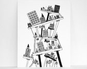 Black and White Print of my Ink Pen Line Drawing - Staggered City on Stilts Size 8x10