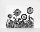 Original Drawing Black and White Flowers. Original Ink Pen Line Illustration. Abstract Stems and Swirls. Fine Art Sketch.