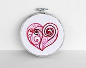Swirl Heart in Red, Pink, Magenta, Fuchsia and Silver for Mother's Day - 4 inch Embroidery Hoop Fiber Art