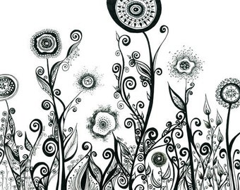 60% OFF CLEARANCE SALE - Flowering Landscape with Swirls and Spirals 8x10 Print of Original Drawing in B&W Floral Art Abstract Illustration