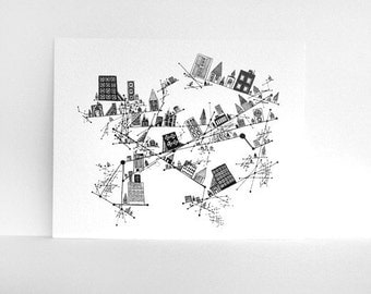 Constellation City Black and White Print - Ink Pen Line Drawing Size 8x10 Illustration Print by SometimesISwirl