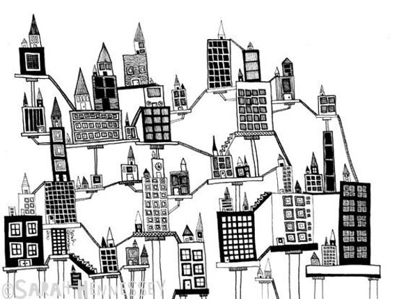Tall City on Stilts and Platforms 8x10 Black and White Print