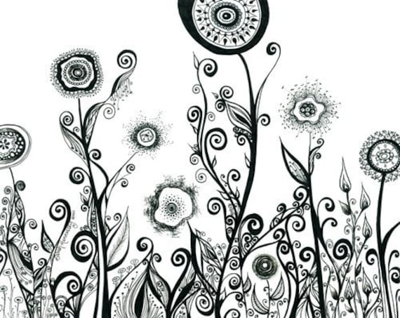 Flowering Landscape with Swirls and Spirals 8x10 Print of my Original Drawing in Black and White. Floral Art. Abstract Pen Illustration.