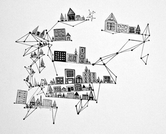 City with Black Ink Diamonds 8x10 Print