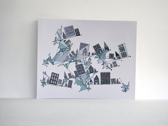RESERVED FOR KRISTINA G. - City Founded on Geometry  8x10 Blue, Gray and Teal Print plus Letters K, C, and Ampersand