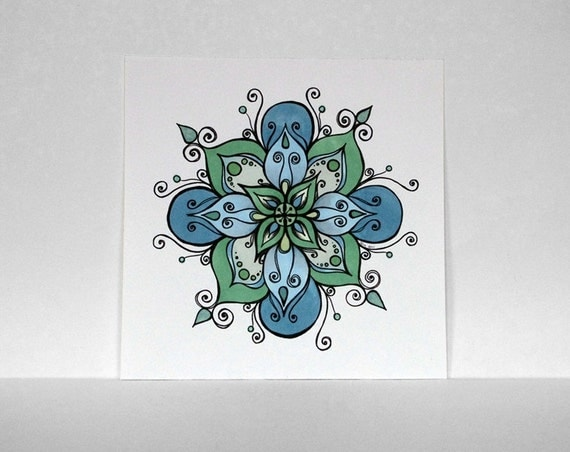 Sea Green, Sky Blue, Cornflowers Blue and Mint Colored Mandala with Swirls, Teardrops and Circles - Original Ink Drawing