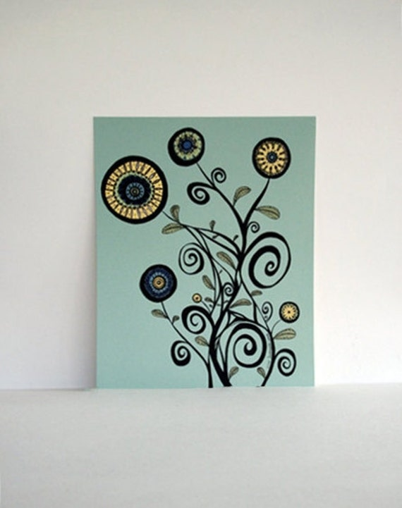 50% OFF SALE: Large Spirals and Leaning Flowers in Aqua, Black, and Butter Yellow Print 8x10