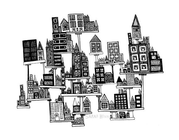 Floating City PRINT of my Original Line Drawing, 8x10 Black and White Archival Art Print