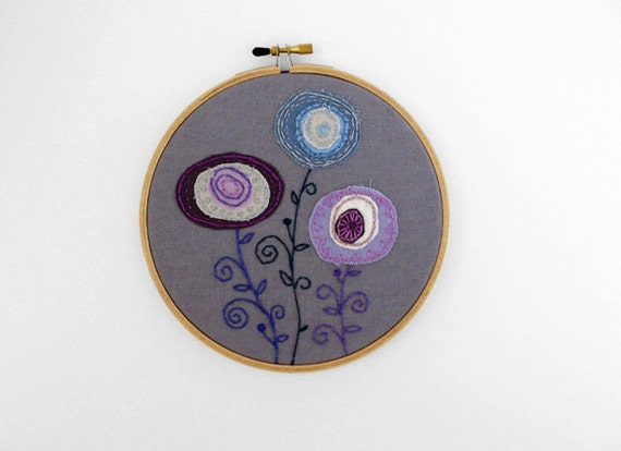 50% OFF SALE: Three Embroidered Fabric Flowers in Lavender, Gray and Sky Blue 5 inch Hoop Art