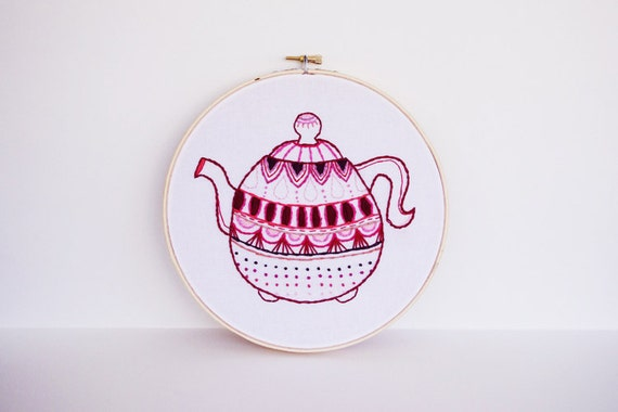 50% OFF SALE - Embroidery Hoop Art Pink, Red, Maroon and Burgundy Embroidered Teapot - 8 inches Fiber Art