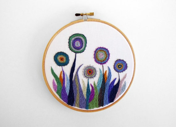 Embroidered Flower Garden in Rainbow Colors 5 inch Embroidery Hoop Wall Art by SometimesISwirl