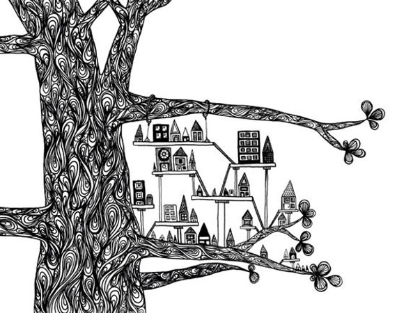 """Black White Art Print: """"Treehouse City"""" - Ink Pen Drawing of a Swirly Tree With a Small City 8x10 Whimsical Print"""